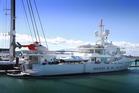 Superyacht Senses is in Auckland for maintenance work. Photo / Doug Sherring