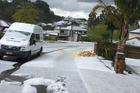 Hail in West Auckland this afternoon. Photo/Taqi Shaik