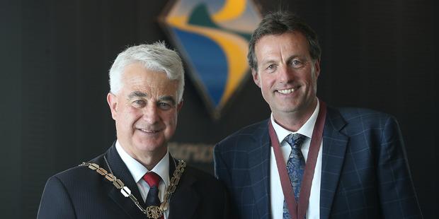 Loading Tauranga's new top team, Mayor Greg Brownless and deputy mayor Kelvin Clout. Photo/John Borren
