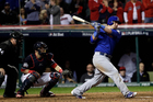 Chicago Cubs' Kyle Schwarber hits a single during the 10th inning of Game 7 of the Major League Baseball World Series against the Cleveland Indians. Photo / AP