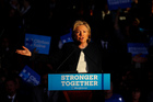 Democratic presidential candidate Hillary Clinton speaks during a campaign rally. Photo / AP