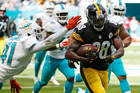 Pittsburgh Steelers wide receiver Darrius Heyward-Bey runs past Miami Dolphins cornerback Byron Maxwell for a touchdown. Photo / AP