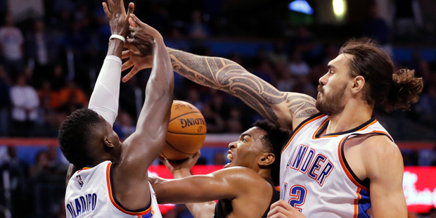 On a day where Steven Adams is reportedly closing in on a huge NBA contract, the Kiwi centre has proven his worth. Photo / AP.