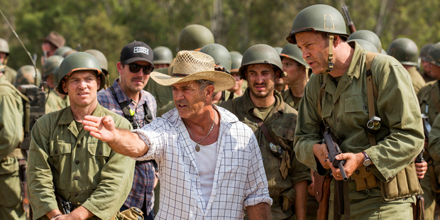 Director Mel Gibson with actor Vince Vaughn on the set of the film, Hacksaw Ridge. Photo / AP