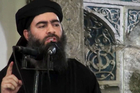 Islamic State leader Abu Bakr al-Baghdadi, giving a speech in an unknown location. Photo / AP
