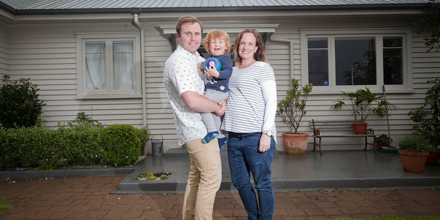 Dan Faris and Lindsay Faris, pictured with their son Wilbur, bought their Tauranga home in June, 2015. PHOTO/ANDREW WARNER