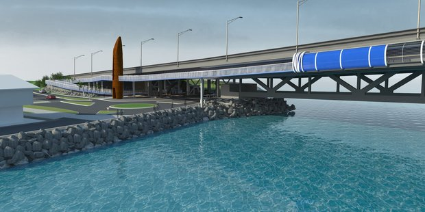 Computer generated image of the proposed Skypath cycleway and pedestrian footbridge to be built on the Auckland Harbour Bridge Southern side of bridge. Photo / Auckland Council