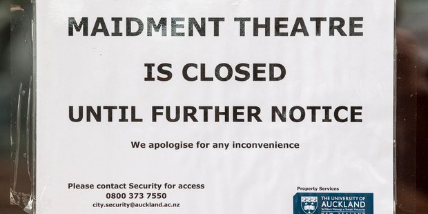 A sign at the University of Auckland's Maidment Theatre, on Alfred St, when it was closed indefinitely after being deemed an earthquake risk. Photo / Greg Bowker