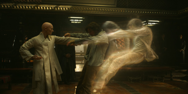 Tilda Swinton as The Ancient One and Benedict Cumberbatch as Doctor Stephen Strange. Photo / Marvel
