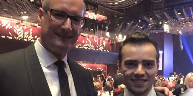 Bailey after giving an inspirational speech at the Tour De Cure Snow Ball in Sydney in June, with Australian TV personality David Koch. Photo / Supplied