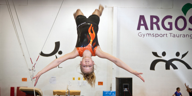 Loading Jasmine Watene, 11, spends around seven hours a week training for tumbling by using a trampoline. Jasmine competed at the Gymsports National Championships in Invercargill. Photo/Andrew Warner