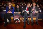 David Cunliffe and Phil Goff enjoy a joke as they sit alongside Judith Collins and Pakistan High Commissioner Zehra Akbariarrives at a Pakistan Independence day celebration. Photo / Michael Craig