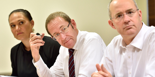 Labour party Andrew Little with Auckland MPs Carmel Sepuloni and Phil Twyford. PHOTO/Marty Melville
