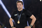 Richie McCaw waits for the presentation of the Webb Ellis Cup, after winning the 2015 Rugby World Cup Final. Photo / Brett Phibbs