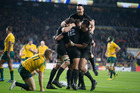 All Black Ma'a Nonu celebrates after scoring a try with Sam Whitelock, Julian Savea, Richie McCaw and Sonny Bill Williams, during the Rugby World Cup Final, 2015. Photo / Brett Phibbs