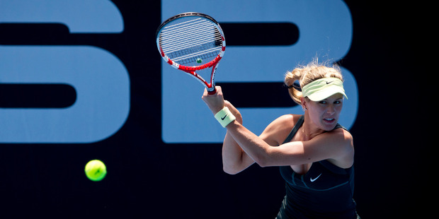 Eugenie Bouchard, in action at the 2012 ASB Classic in Auckland, made fun of Kim Kardashian. Photo / Dean Purcell - NZ Herald.