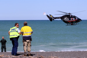Emergency services at the scene in Napier where a man drowned. Photo/Paul Taylor