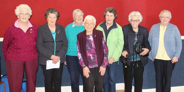 Doreen Goodin (left), Papatawa; Beverley Curran, Rua Roa; Valerie Moynihan, Mangamutu; Ngaire Dornbusch, Rua Roa; Esther Knight, Papatawa; Joye Headifen, Rua Roa; and and  Beth Harding, Papatawa.