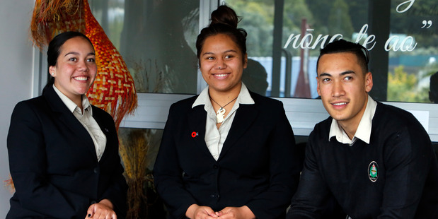 Te Kapehu Whetu students Grace Barry, Hineira Komene and Aotea Parata are excited to embrace other cultures when they head on a year-long overseas exchange next year. Photo / John Stone