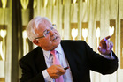 Neuroscientist Professor Richard Faull makes some points during a presentation in Whangarei yesterday. Photo / John Stone