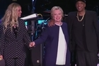 A star-studded group of hip-hop artists joined Democratic presidential candidate Hillary Clinton at a GOTV concert in Cleveland.