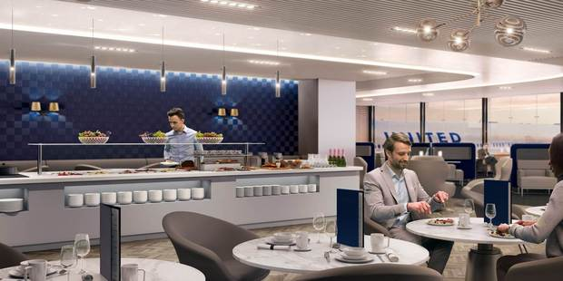 A mock-up of a United Airlines Polaris business class lounge.