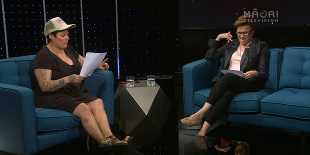 Anika Moa, wearing a Donald Trump hat, and Lucy Lawless on All Talk With Anika Moa.