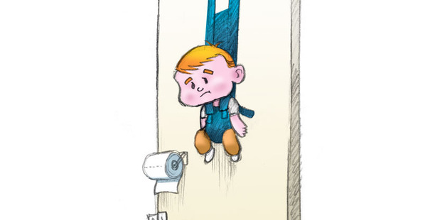 A device to hang your baby from a door while you use the loo - is one of the many genius gadgets new parents need. Illustration / Andrew Louis
