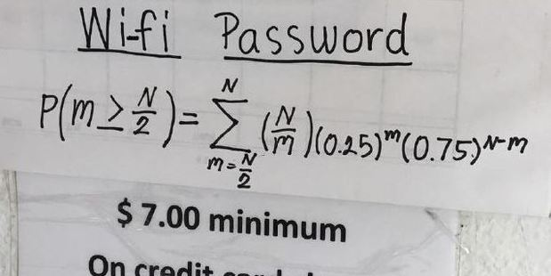The equation you need to solve to get free Wi-Fi. Photo / Reddit