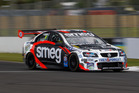 Simon Evans during race one of the NZ Touring Cars championship at Pukekohe. Photo / Matthew Hansen