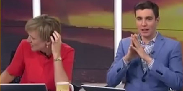 Hilary Barry turns her head during a Breakfast segment that showed Hunterville farmers 'bobbing for testicles'.