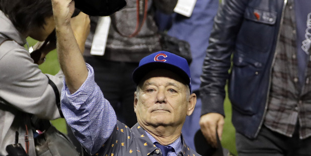 Loading Bill Murray celebrates after Game 7 of the Major League Baseball World Series between the Cleveland Indians and the Chicago Cubs. Photo / AP