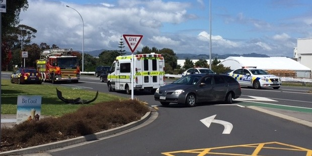 Emergency services are busy directing traffic after a crash on Maunganui Rd. Photo/George Novak