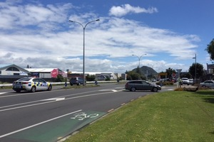 Emergency services are directing traffic on Maunganui Rd after a crash. Photo/George Novak