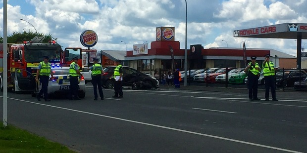 Police investigate the crash on Greenwood St, Hamilton, which claimed the life of a young man.