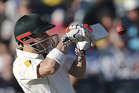Australia's David Warner plays a shot on the first day of play in a cricket test match against South Africa in Perth. Photo / AP