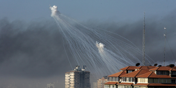 White phosphorus bombs were dropped over the Gaza Strip in 2009. Photo / Getty Images