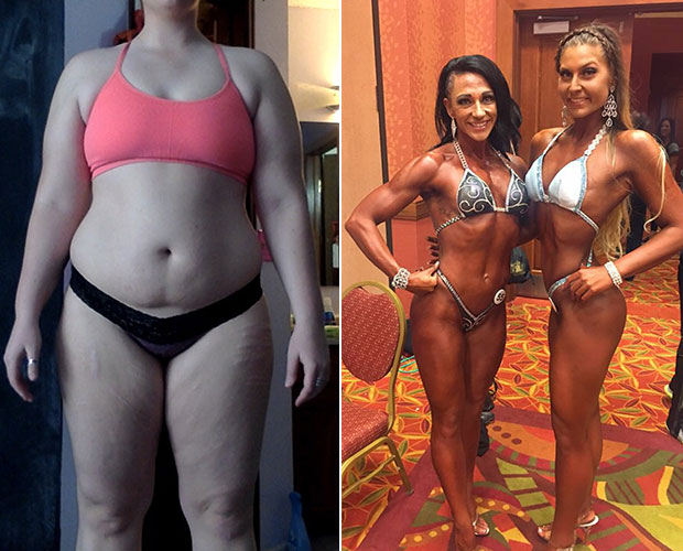 Grace before getting healthy and then at the NPC Warrior Classic in Colorado. Photos / Caters