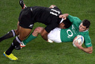 All Black Julian Savea puts a big hit on Ireland's Rob Kearney during a 2012 test. Photosport