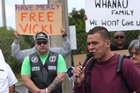 A protest for terminally-ill inmate Vicki Letele outside Wiri Women's Prison saw her brother boxer Dave Letele (aka the Brown Buttabean) speaking.