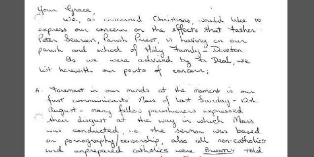 This letter from a parishioner complained that Father Searson had delivered a sermon on pornography. Photo / Supplied