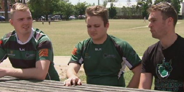 Quinn's former teammates; Dan Syrus, Matt Arthy and Leon Kennedy. Photo / ABC 7.30