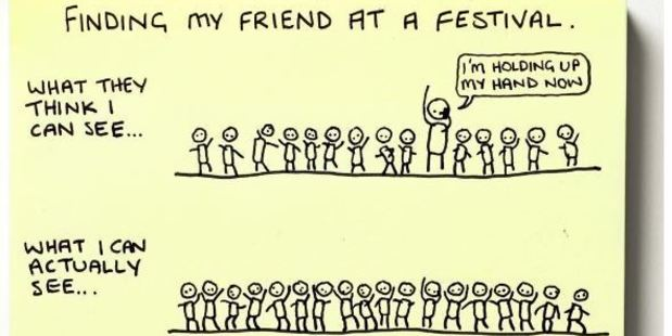 One doodle perfectly depicts the near impossible mission of trying to locate your friends at a festival. Photo / Instagram @instachaaz