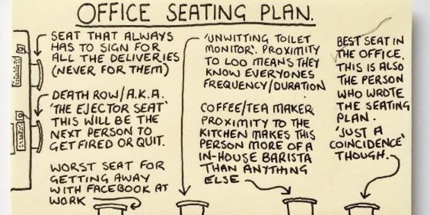 This seating plan showing which chair belongs to which 9-5 stereotype must resonate with every office employee. Photo / Instagram @instachaaz
