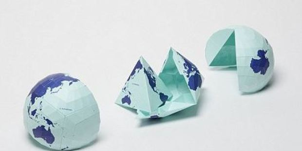 The map was made by equally dividing a spherical surface into 96 triangles, transferring it to a tetrahedron and unfolding it to be a rectangle. Photo / Authagraph