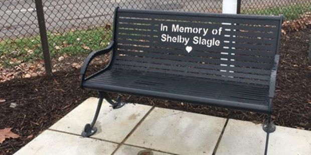 A bench at a children's hospital in memory of Shelby. Photo / Facebook