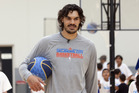Steven Adams during a kids basketball camp in Tauranga. Photo / Andrew Warner
