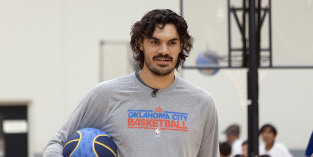 Loading Steven Adams during a kids basketball camp in Tauranga. Photo / Andrew Warner