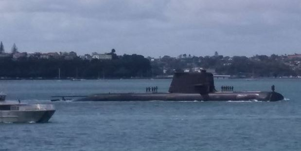 A submarine has been spotted in Auckland this morning. Photo: Mark Unwin / Twitter