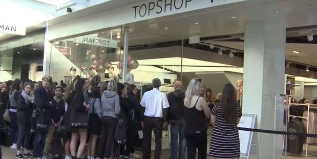 Loading People queue outside the opening of Topshop in Wellington. Photo / Mark Mitchell
